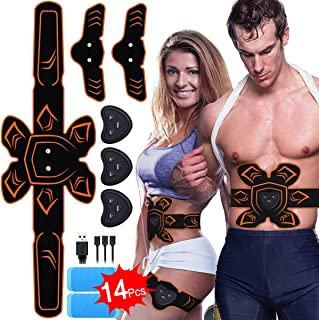 PiAEK ABS Stimulator Muscle Toner Rechargeable Abdominal Toning Belt, EMS Abdomen Muscle Trainer Fitness with 6 Modes 10 Levels for Men Women Abdomen/Arm/Le