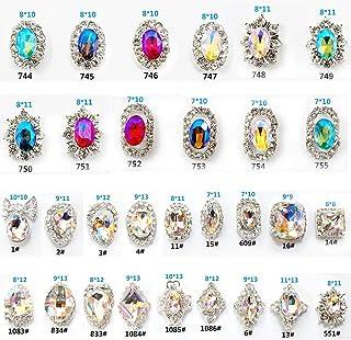 Niome 30PCS/2Packs 3D Luxury Clear Colored Shining Diamond Rhinestone Alloy Nail Art Decorations Charming Fashionable DIY ...