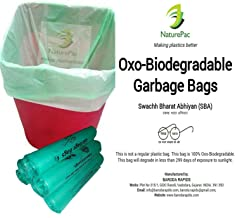 NaturePac Garbage Bags Biodegradable For Kitchen,Office,Small Size (Green ,43cmx51cm,17inchx20inch,180 Bag)