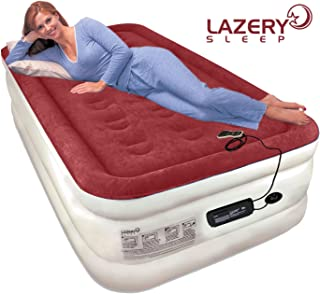 """Lazery Sleep Air Mattress Airbed with Built-in Electric 7 Settings Remote LED Pump - Twin 74"""" x 39"""" x 19"""""""