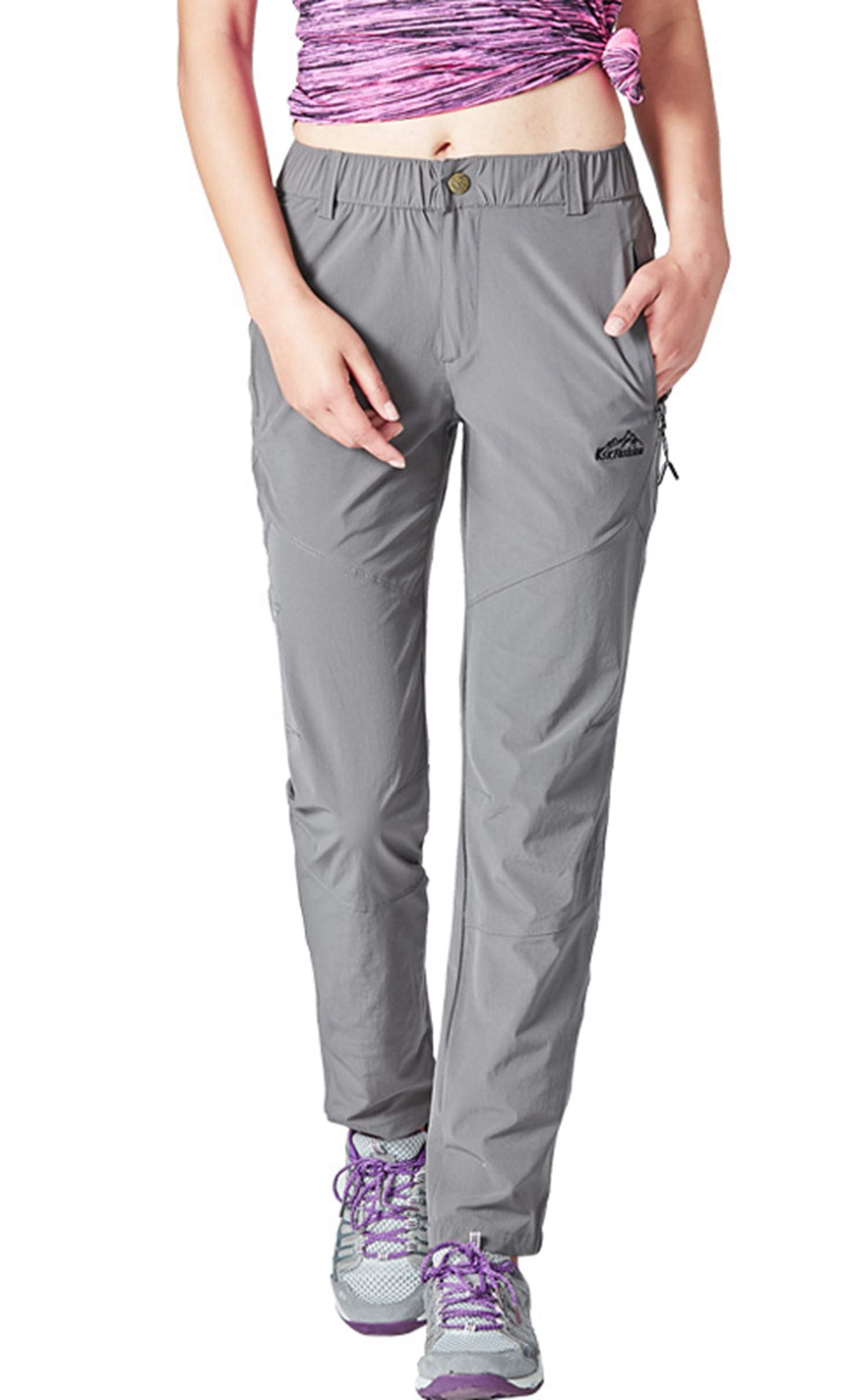 YSENTO Pantalon de randonnée léger résistant à l'eau avec poches à fermeture éclair pour femme