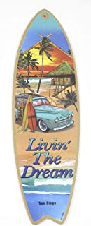 San Diego Beach Surf Sign Livin The Dream Wood Art Souvenir Gift Wall Decor, Size 15