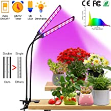 Grow Light for Indoor Plants 50W 96 LED Full Spectrum Plant Lights, Auto On/Off 3/6/12H Timer 5 Dimmable Levels 3 Switch Modes Dual Head Desk Growing Lamp for Gardening Seedling Succulent Hydroponic