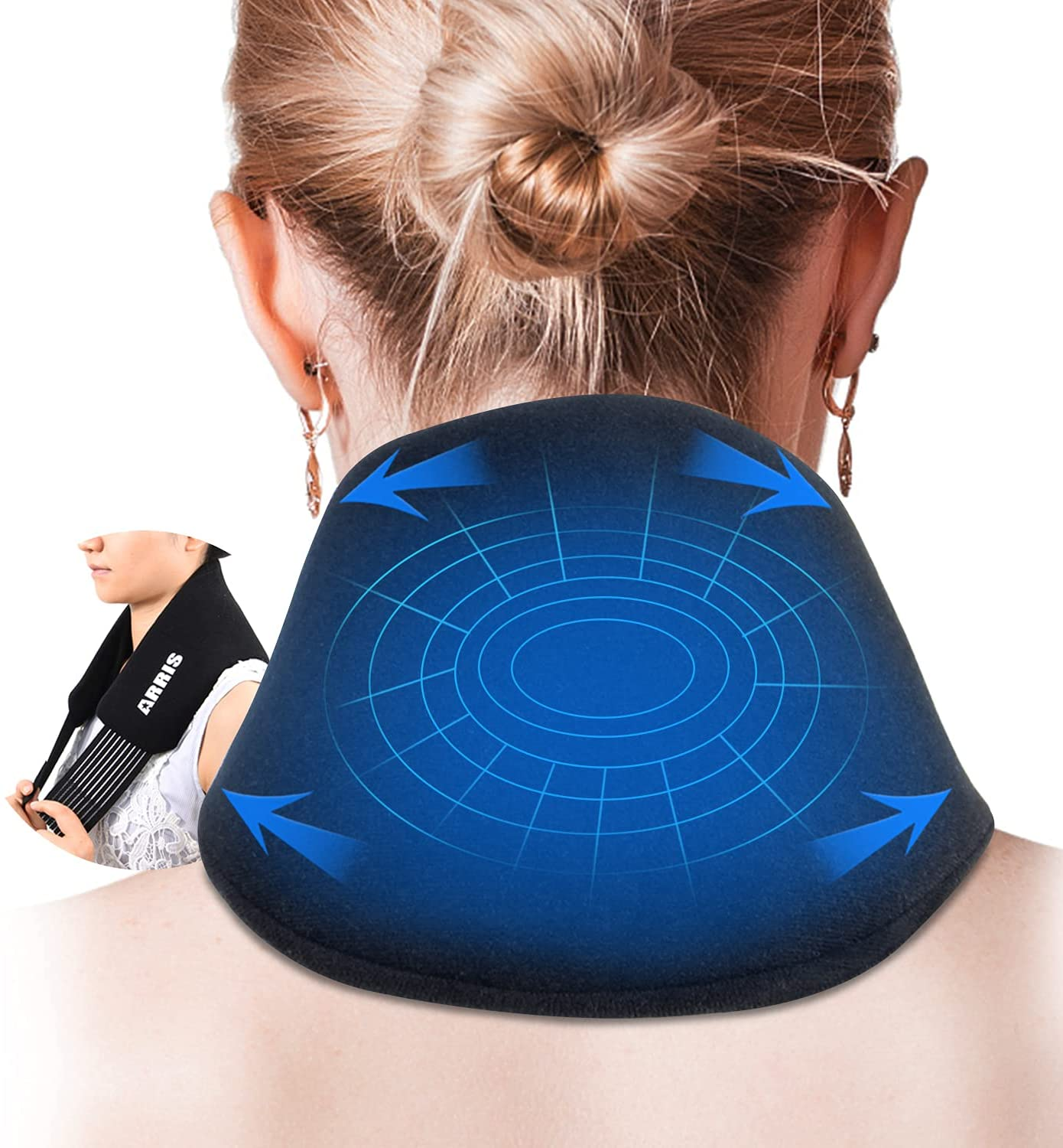 Neck Ice Pack with Straps - Cold Compress Neck Therapy Wrap - Soothing Pain Relief for Neck, Cervical, Shoulder- Reusable & Flexible Hot Cold Gel Packs for Swelling, Injuries, Headache (ARRIS) : Health & Household
