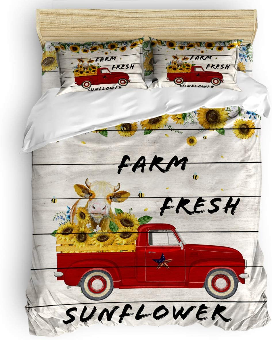BABE Cheap MAPS Farm Style Duvet Cover 4 Breathable Pcs Set and Light Purchase