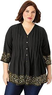 Women's Plus Size Beaded Pintuck Tunic