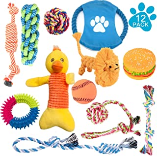 JSXD Dog Puppy Toys, 12 Pack Puppy Chew Toys for Playtime and Teeth Cleaning, IQ Treat Ball Squeak Toys and Dog Flying Disc Included, Puppy Teething Toys for Medium to Small Dogs