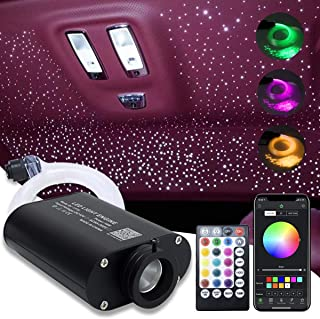 Car Use 16W LED Fiber Optic Star Ceiling Kit RGBW Light, APP Controlled 28 Keys Remote Sound Sensor Musical Lighting 0.03i...