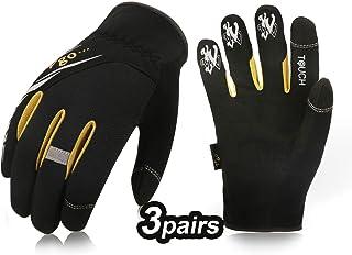 Vgo 3Pairs High Dexterity Light Duty Mechanic Glove, Rigger Glove, Anti-Abrasion, Touchscreen(Size XL, Black, SL8853)