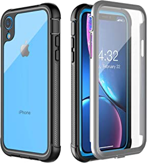 Pakoyi Designed for iPhone XR Case, Clear Full Body Bumper Case with Built-in Screen Protector Slim Clear Shock-Absorbing Dustproof Lightweight Cover Case for iPhone XR (6.1 Inch)