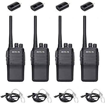 Retevis RT21V MURS Radio,Walkie Talkies for Adults Long Range, Security 2 Way Radios with Earpiece,Rugged Two Way Radio for Commercial Construction Warehouse (4 Pack)
