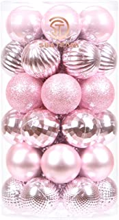 Sea Team 41-Pack Christmas Ball Ornaments with Strings, 40mm/1.57-Inch Small Size Baubles, Shatterproof Plastic Christmas ...