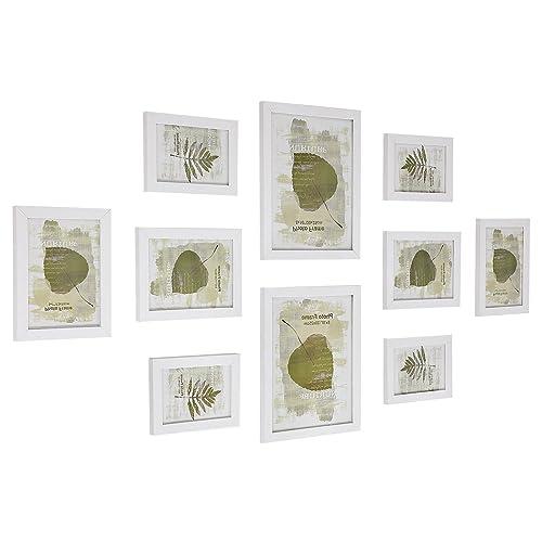 SONGMICS Cadres Photo Set de 10 - Deux 20 x 25 cm po, Quatre 13 x 18 cm po, Quatre 10 x 15 cm po, Cadres Photo Collage Blanc MDF RPF310W