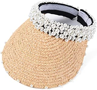 Heavy Work Hand-Stitched Pearl Lafite Empty top hat Female Summer Vacation Travel Sun hat` TuanTuan (Color : Beige, Size : M56-58cm)