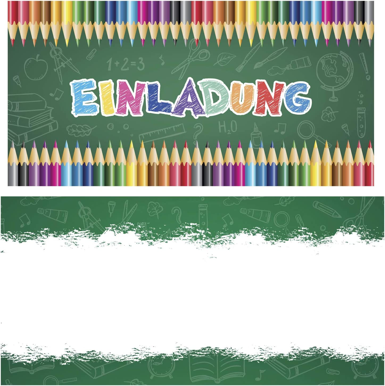 10 Karten KREATIVES HERZ Schulanfang Karten 1.Schultag M/ädchen /& Jungen Briefumschl/äge 10 Einladungskarten zur Einschulung Buntstifte