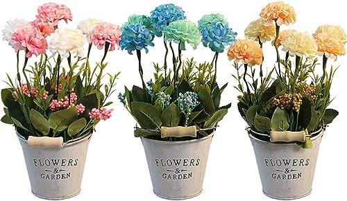 HOTLIKE Flores Artificiales Decoración, 3Pcs Plantas Artificiales de Maceta, Mini Artificiales Plastico Decorativas P...