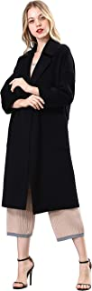 Spring Air Womens Long Double Faced 100% Wool Coat, Loose Tartan&Solid Parka Outwear