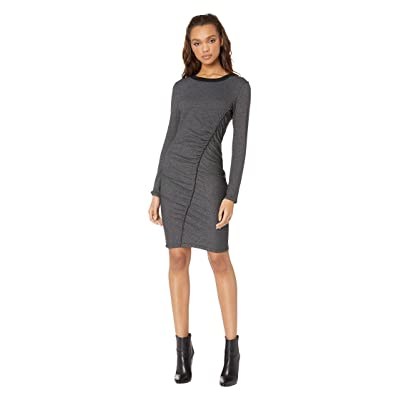 Splendid Logan Shirred Midi Dress (Black/Charcoal) Women