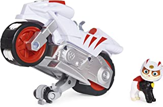 PAW Patrol, Moto Pups Wildcat's Deluxe Pull Back Motorcycle Vehicle with Wheelie Feature and Toy Figure