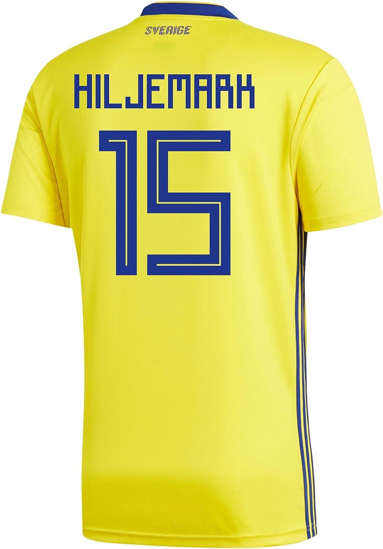 Adidas HILJERMARK  15 Sweden Home Men's Soccer Jersey World Jersey Russia 2018
