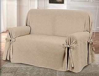 HomeLife – Cubre sillón – Elegante Protector de sofás Liso – Funda de sofá de algodón para Proteger del Polvo, Las Manchas y el Desgaste, Fabricado en Italia – Beige