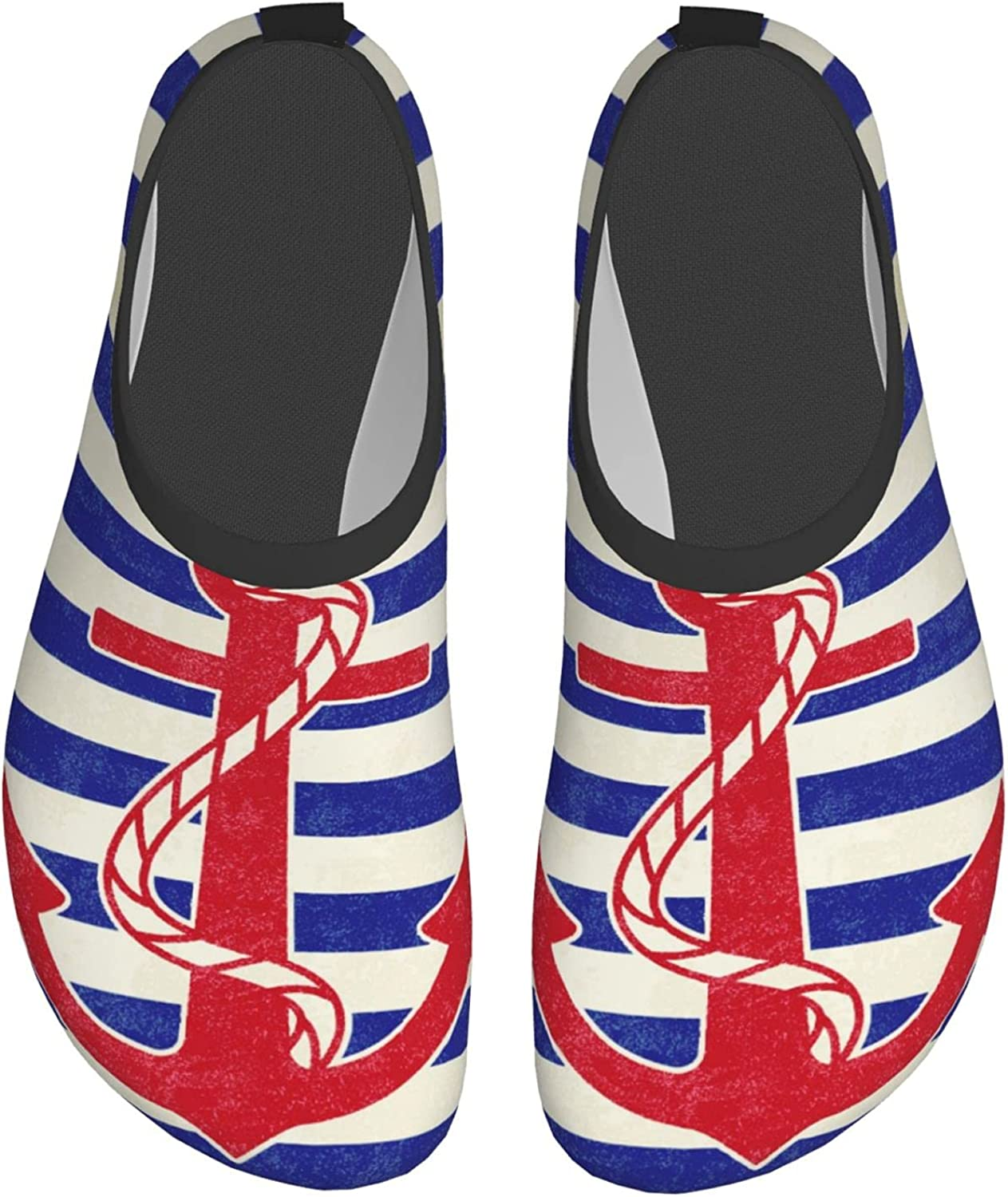 Vintage Anchor on White and Blue Sailor Stripes Water Shoes for