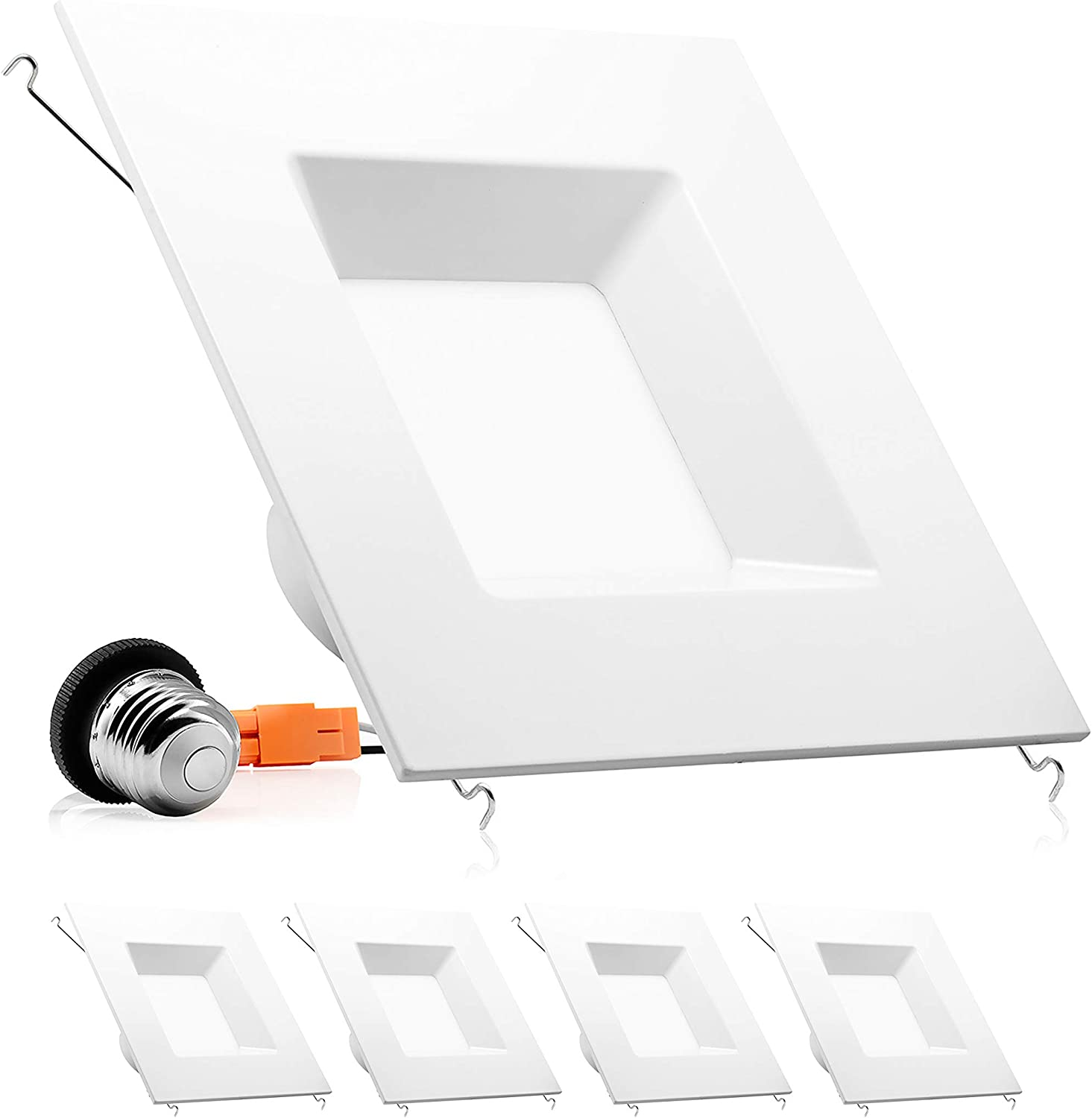 Parmida (4 Pack) 6 inch Dimmable LED Retrofit Recessed Downlight, 15W (100W Replacement), Square Trim, 3000K (Soft White), 1040LM, Energy Star & ETL, LED Ceiling Can Light Fixture