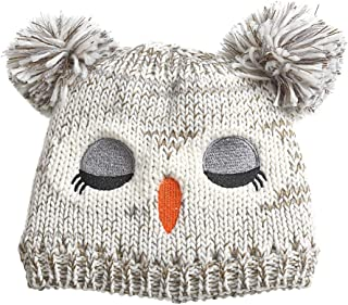 Surkat Winter Knitted Hat Pom Pom Beanie Skull Cap for Girls Boys Kids Children