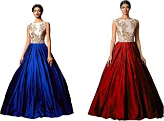 Florence Women's art silk GOWN (GC011-GC014_ Blue and Red_ Free)