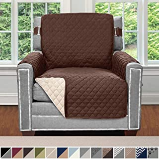 SOFA SHIELD Original Patent Pending Reversible Chair Slipcover, 2 Inch Strap Hook, Seat Width Up to 23 Inch Machine Washable Furniture Protector, Slip Cover Throw for Pets Kids, Chair, Chocolate Beige
