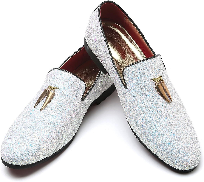 Men's Modern Glitter Tuxedo Slip-on Loafers Luxury Metallic Sequins Textured Wedding Prom Dress shoes (13, White)