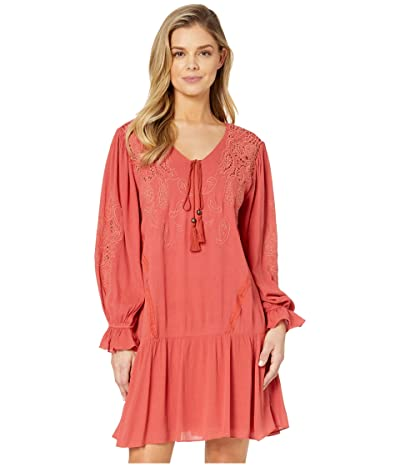 Miss Me Embroidered Lace Trumpet Sleeve Dress (Brick Red) Women
