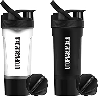 Utopia Home [2-Pack] Classic Protein Mixer Shaker Bottle with Twist and Lock Protein Box Storage (24-Oz)