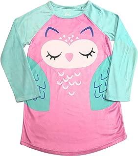 Long Sleeved Fleece Girls Nightgown Pajamas with Panda, Unicorn, and More Styles (Medium (7/8), Purple Owl)
