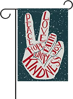 ALAZA Retro Peace Love Joy Polyester Garden Flag House Banner 28 x 40 inch, Two Sided Welcome Yard Decoration Flag for Wedding Party Home Decor