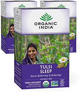 Organic India Tulsi Sleep Herbal Tea - Stress Relieving & Relaxing, Immune Support, Balances Sleep Cycles, ...