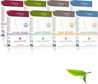Teasire by Gourmesso Infusion Bundle - 80 Tea Capsules Compatible with Nespresso Machines | Includes Green Tea, Black Tea, Mint Herbal Tea, and Plum Fruit Tea Pods