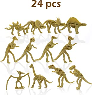 """GiftExpress 24 pcs Dinosaur Fossil Skeletons, 3.7"""" Assorted Dino Bones Figures, Science Play Dinos, Fossil Toys"""