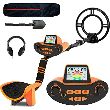 SUNPOW Professional Metal Detector for Adults, Adjustable Ground Balance, Disc & Notch & Pinpoint Modes, Upgraded DSP Chip, Multiple Audio Prompts