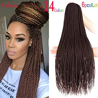 24 Inch 30 Strands 95 Gram/Pack Senegalese Twist Hair Crochet Braids Hairstyles Crochet Twist Synthetic Braiding Hair Extensions (6 Packs/Lot,Dark Brown)