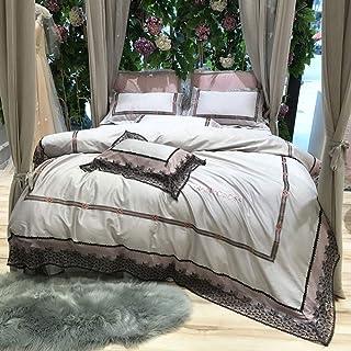 طقم سرير مطرز بالدانتيل الفرنسي للخريف والشتاء من أربع قطع قطن وردي مناسب لجميع فصول السنة, Small