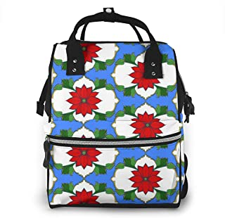 Poinsettia Pattern Multi-Function Travel Backpack Nappy Bag,Fashion Mummy Bag