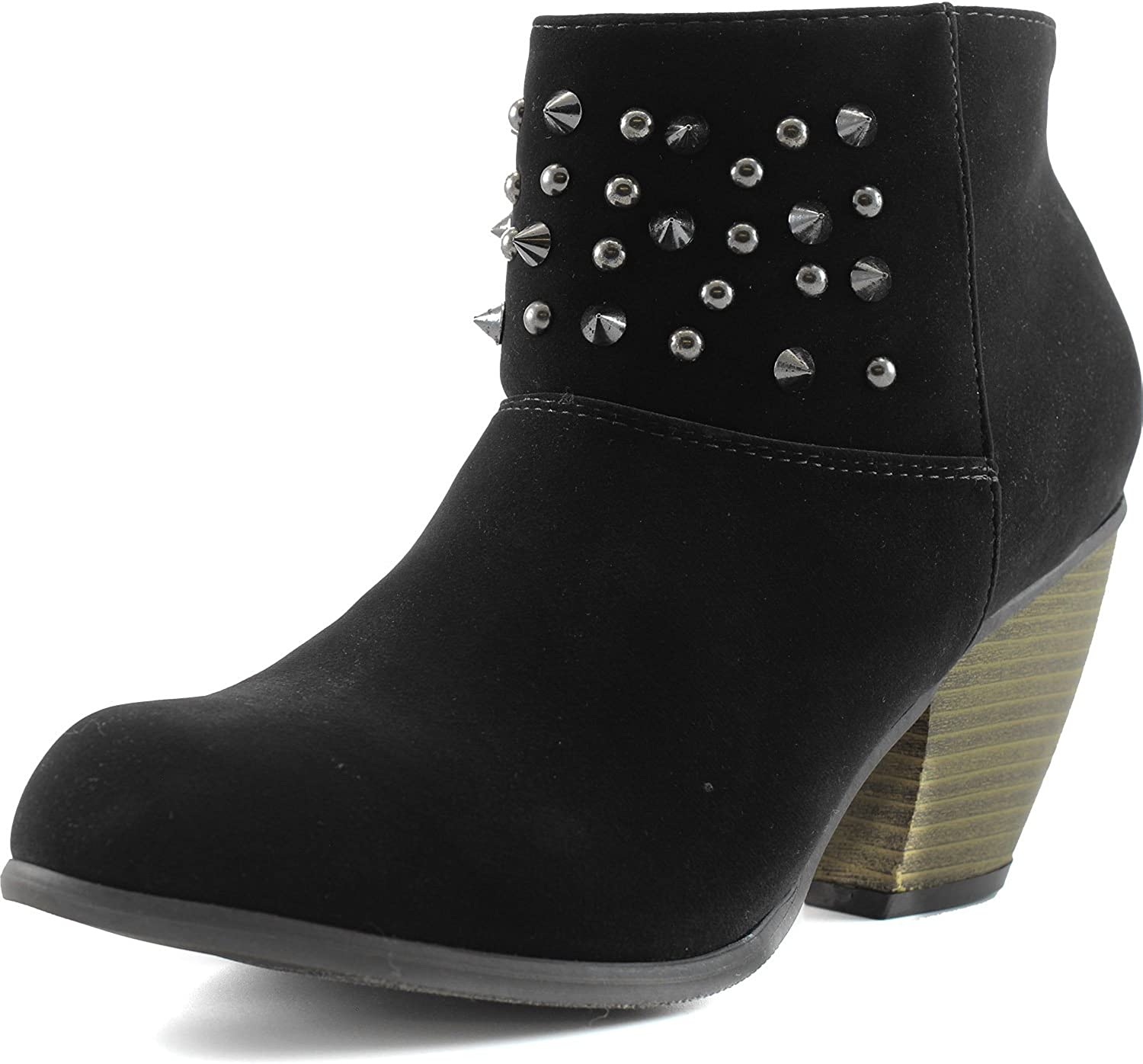 Qupid Women's Priority-46 Western Cowboy Spike Ankle Bootie Round Toe Boots