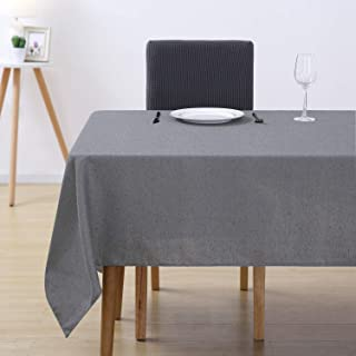 Deconovo Cotton Tablecloth Waterproof Stain Resistant Rectangle Tablecloths for Wedding Decoration 54W x 72L Inch Gray