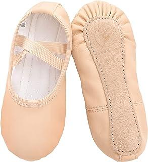 Zapatillas de Danza Cuero Zapatos de Ballet Suela de Cuero Entera para Niña y Mujer Adultos Tallas 22-40