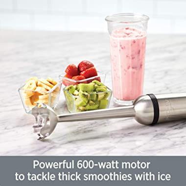 All-Clad KZ750D Stainless Steel Immersion Blender with Detachable Shaft and Variable Speed Control Dial, 600-Watts, Silver