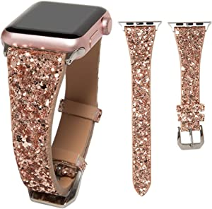 HAYUL Glitter Band Compatible with Apple Watch 38mm 40mm 42mm 44mm, Luxury Shiny Bling Leather Strap Wristband for iWatch Series 6/5/4/3/2/1 SE Women Girls (Rose Gold, 38mm/40mm)