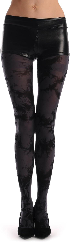 Dark Grey & Black Colour Splash (Tie Dye) - Tights