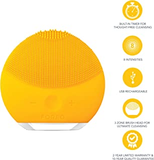 FOREO Luna Mini 2 Facial Cleansing Brush and Skin Care device made with Soft Silicone for Every Skin Type, Sunflower Yellow, 204g