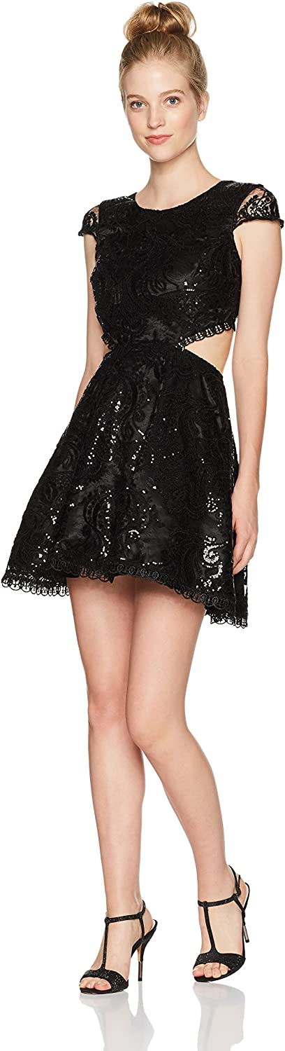 My Michelle Womens All Over Lace Dress with Cut Outs Dress